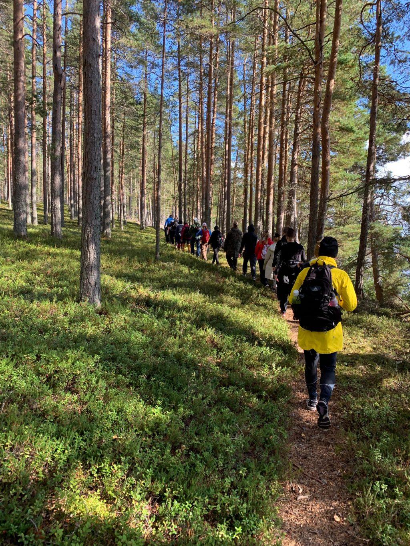 Opiskelijat kävelemässä metsäpolulla.